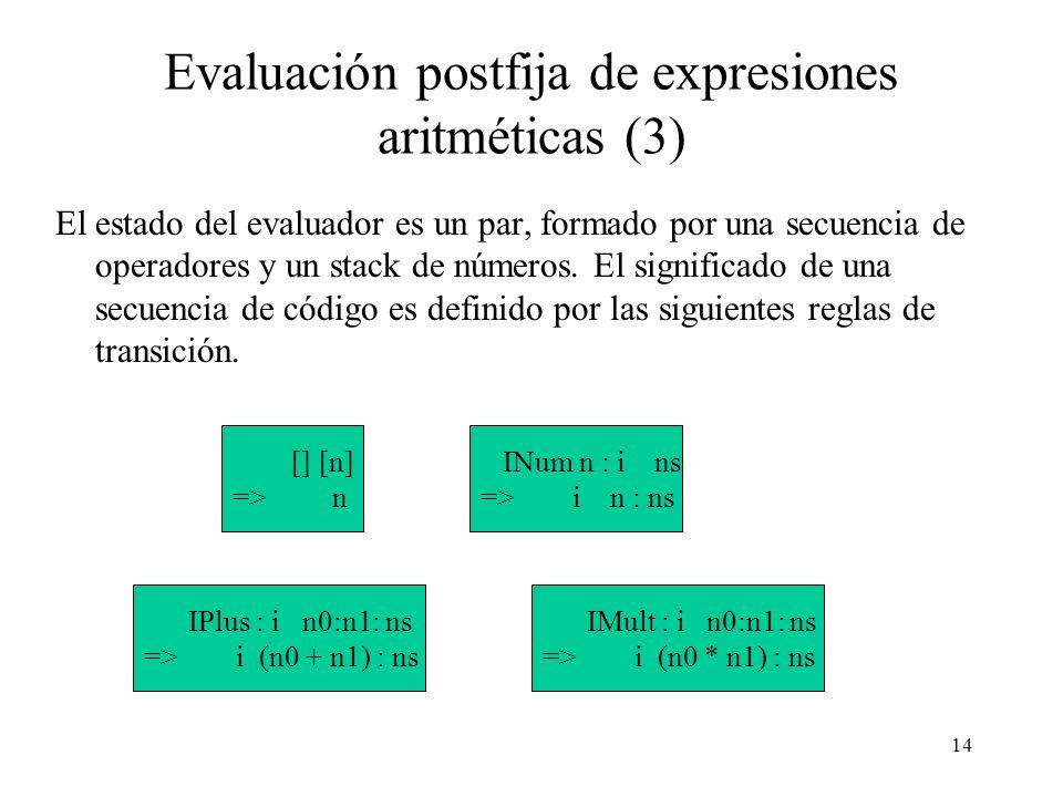 14 Evaluación postfija de expresiones aritméticas (3) El estado del evaluador es un par, formado por una secuencia de operadores y un stack de números.