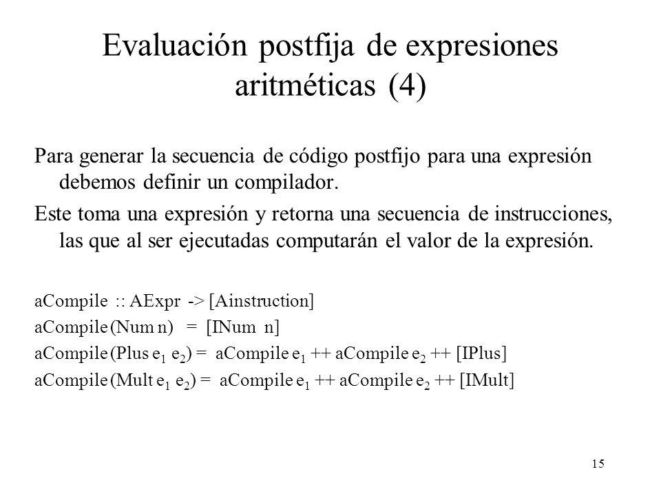 15 Evaluación postfija de expresiones aritméticas (4) Para generar la secuencia de código postfijo para una expresión debemos definir un compilador.