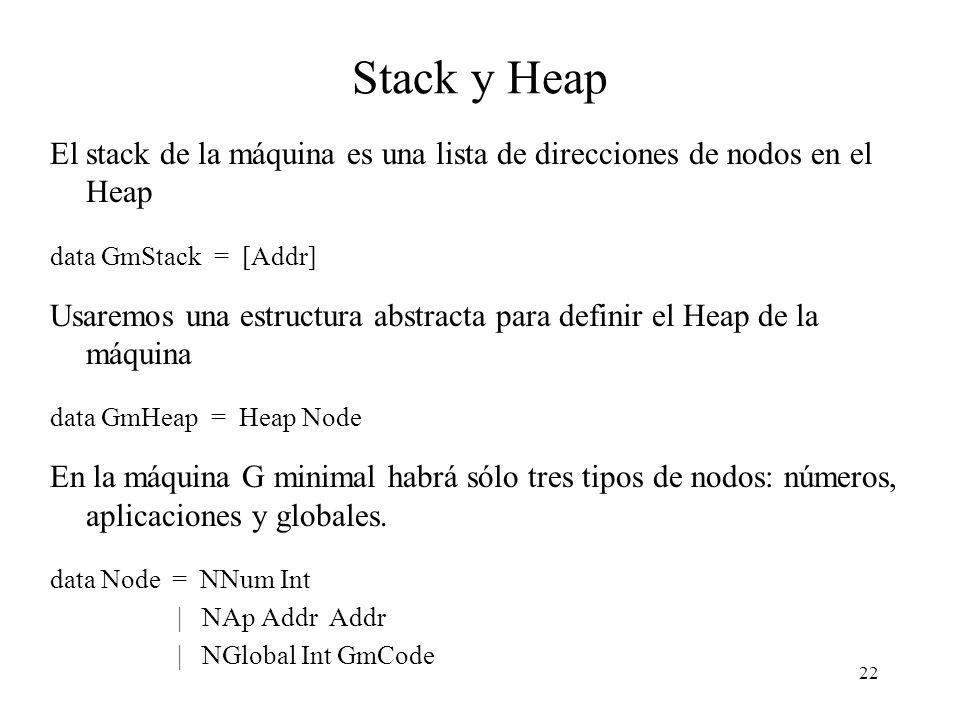 22 Stack y Heap El stack de la máquina es una lista de direcciones de nodos en el Heap data GmStack = [Addr] Usaremos una estructura abstracta para definir el Heap de la máquina data GmHeap = Heap Node En la máquina G minimal habrá sólo tres tipos de nodos: números, aplicaciones y globales.