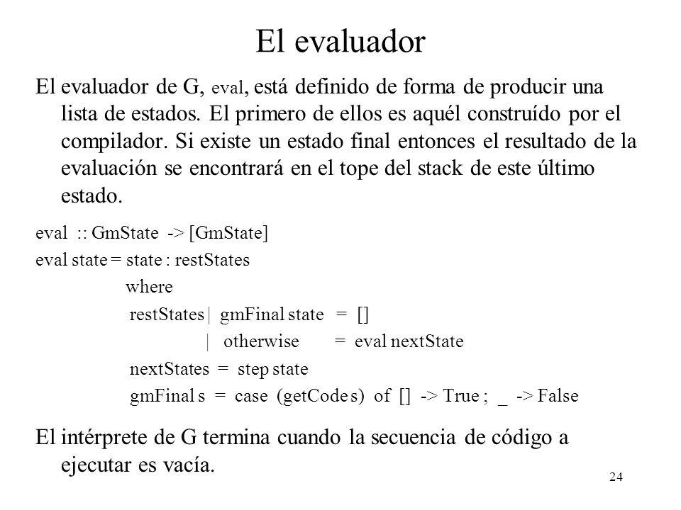 24 El evaluador El evaluador de G, eval, está definido de forma de producir una lista de estados.