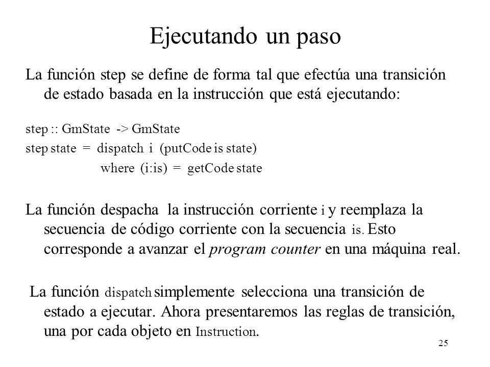 25 Ejecutando un paso La función step se define de forma tal que efectúa una transición de estado basada en la instrucción que está ejecutando: step :: GmState -> GmState step state = dispatch i (putCode is state) where (i:is) = getCode state La función despacha la instrucción corriente i y reemplaza la secuencia de código corriente con la secuencia is.