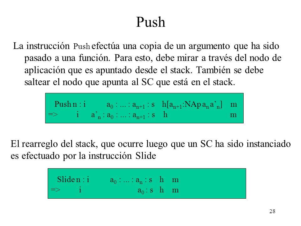 28 Push La instrucción Push efectúa una copia de un argumento que ha sido pasado a una función.