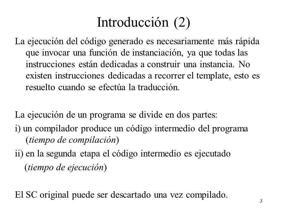 3 Introducción (2) La ejecución del código generado es necesariamente más rápida que invocar una función de instanciación, ya que todas las instrucciones están dedicadas a construir una instancia.