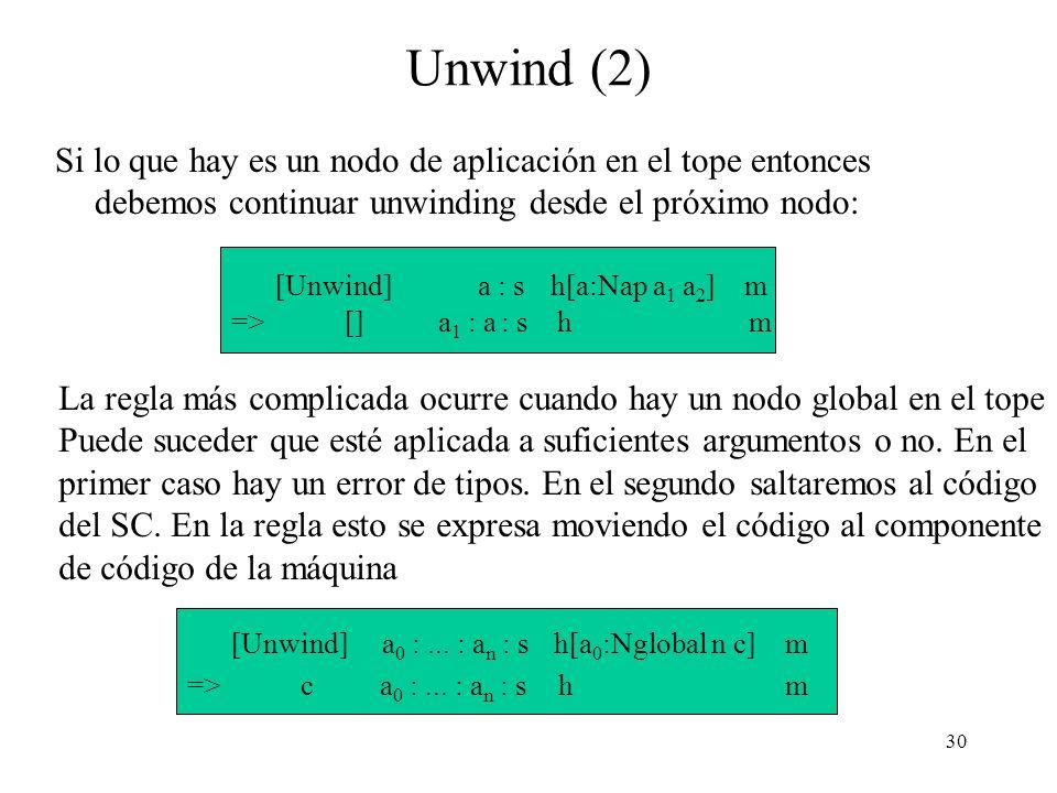 30 Unwind (2) Si lo que hay es un nodo de aplicación en el tope entonces debemos continuar unwinding desde el próximo nodo: [Unwind] a : s h[a:Nap a 1 a 2 ] m => [] a 1 : a : s h m La regla más complicada ocurre cuando hay un nodo global en el tope Puede suceder que esté aplicada a suficientes argumentos o no.