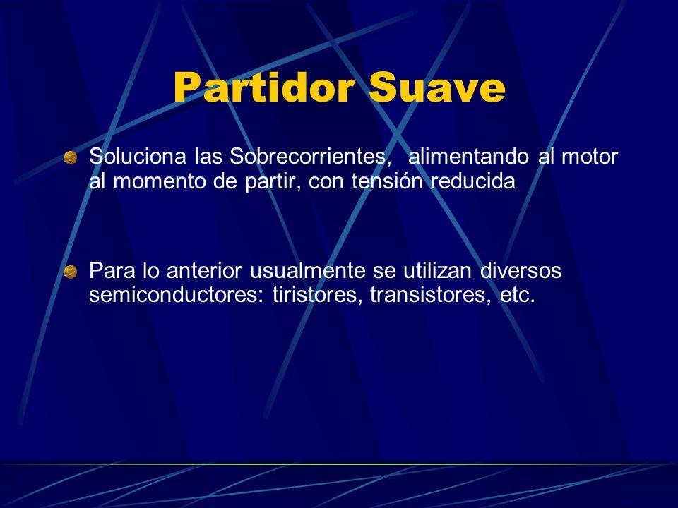 Partidor Suave Soluciona las Sobrecorrientes, alimentando al motor al momento de partir, con tensión reducida Para lo anterior usualmente se utilizan diversos semiconductores: tiristores, transistores, etc.
