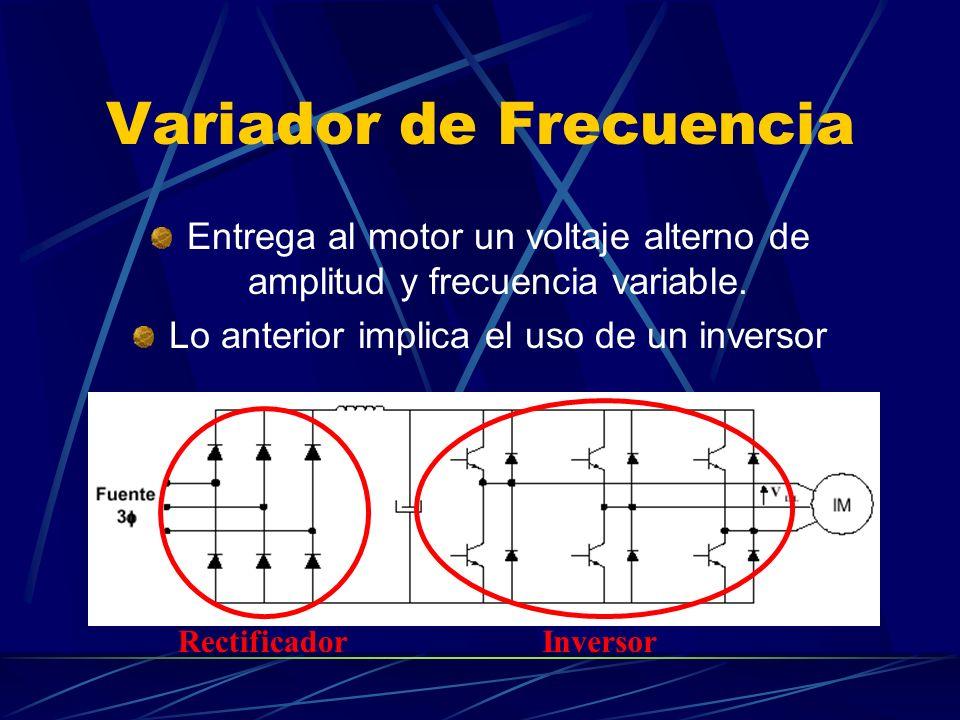 Variador de Frecuencia Entrega al motor un voltaje alterno de amplitud y frecuencia variable. Lo anterior implica el uso de un inversor Rectificador I