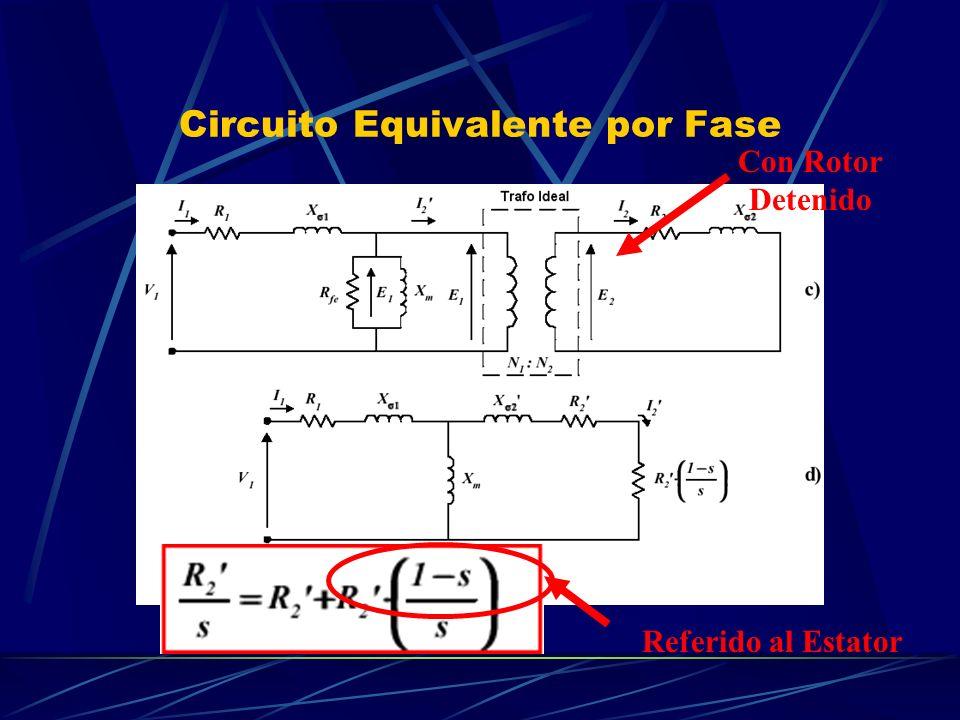 Circuito Equivalente por Fase Con Rotor Detenido Referido al Estator
