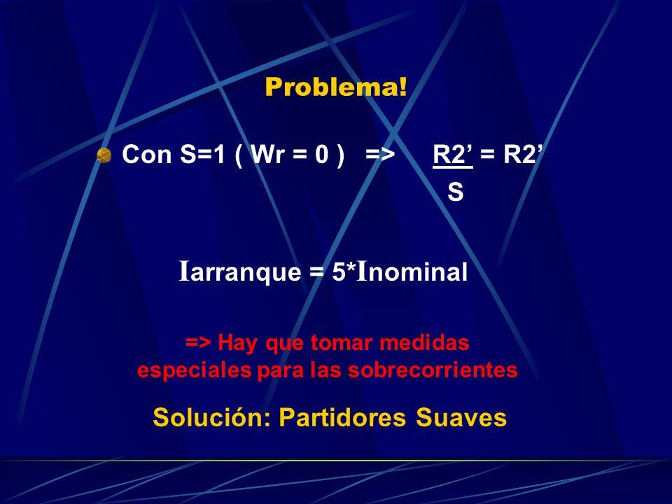 Problema! Con S=1 ( Wr = 0 )=>R2 = R2 S I arranque = 5* I nominal => Hay que tomar medidas especiales para las sobrecorrientes Solución: Partidores Su