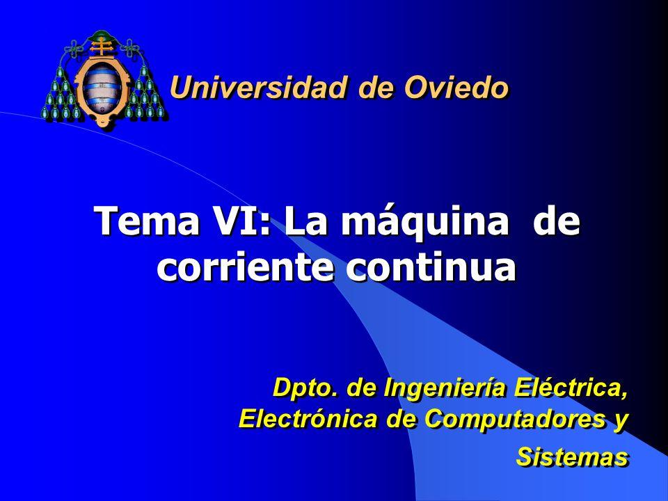 Tema VI: La máquina de corriente continua Universidad de Oviedo Dpto. de Ingeniería Eléctrica, Electrónica de Computadores y Sistemas