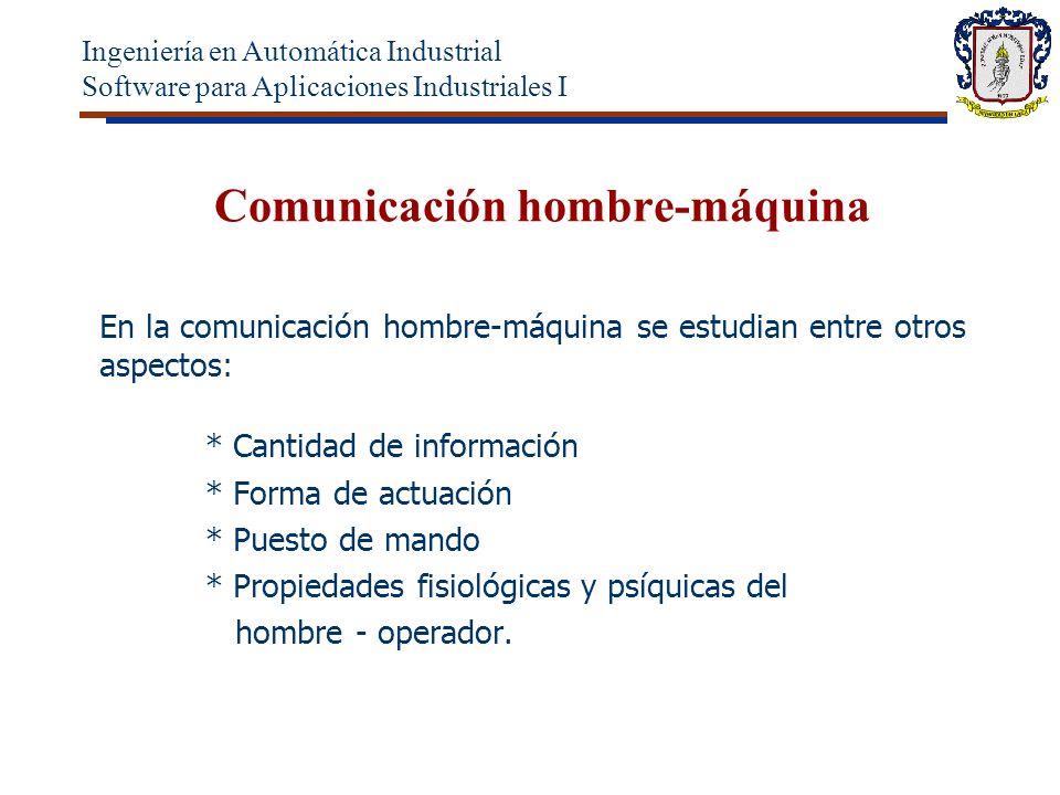 Comunicación hombre-máquina En la comunicación hombre-máquina se estudian entre otros aspectos: * Cantidad de información * Forma de actuación * Puesto de mando * Propiedades fisiológicas y psíquicas del hombre - operador.