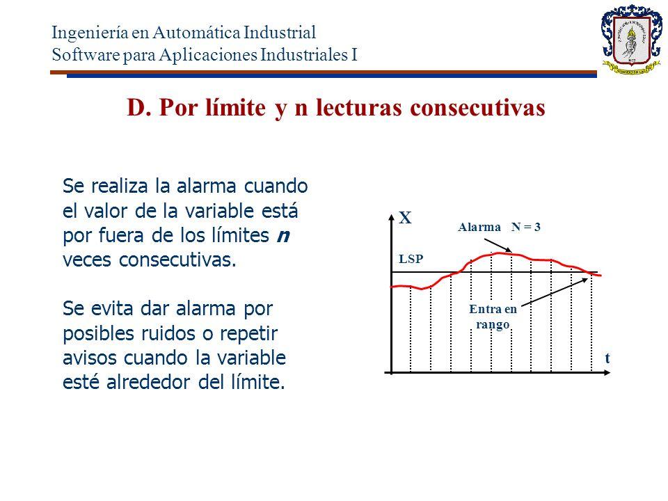 D. Por límite y n lecturas consecutivas Se realiza la alarma cuando el valor de la variable está por fuera de los límites n veces consecutivas. Se evi