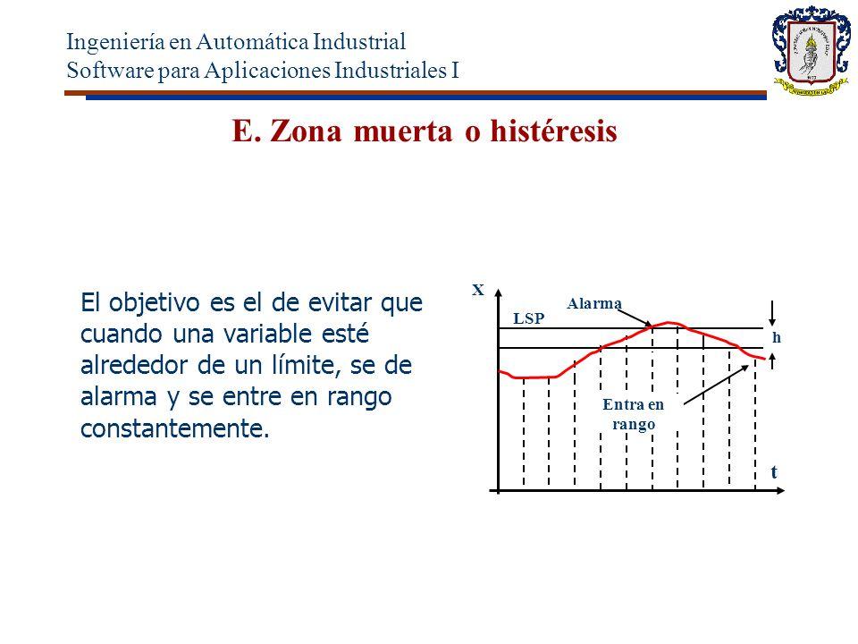 E. Zona muerta o histéresis El objetivo es el de evitar que cuando una variable esté alrededor de un límite, se de alarma y se entre en rango constant
