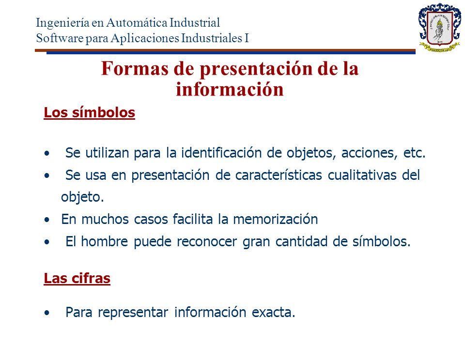 Formas de presentación de la información Los símbolos Se utilizan para la identificación de objetos, acciones, etc.