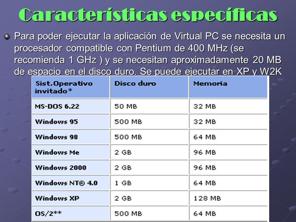 Ejemplos Para ejecutar Windows 95 como un sistema operativo invitado en un sistema anfitrión Windows 2000 se necesita 500 MB de espacio libre en el disco duro y 128 MB de memoria libre (96 MB para el anfitrión y 32 para el invitado).
