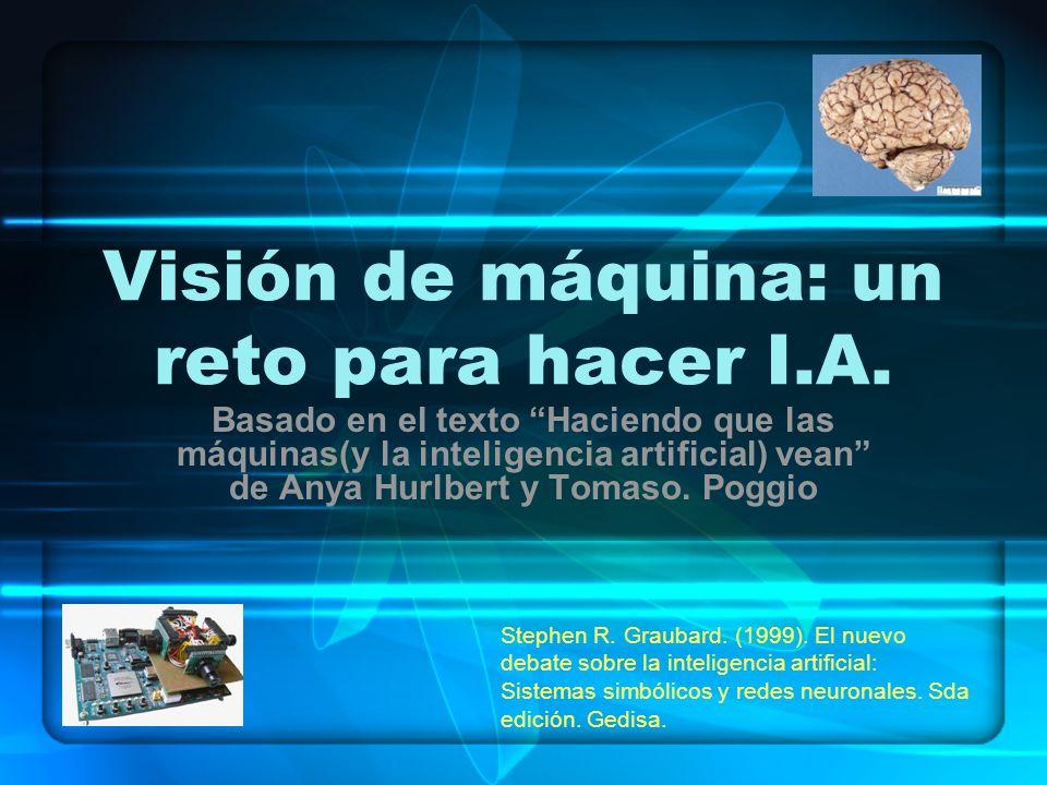 Visión de máquina: un reto para hacer I.A. Basado en el texto Haciendo que las máquinas(y la inteligencia artificial) vean de Anya Hurlbert y Tomaso.