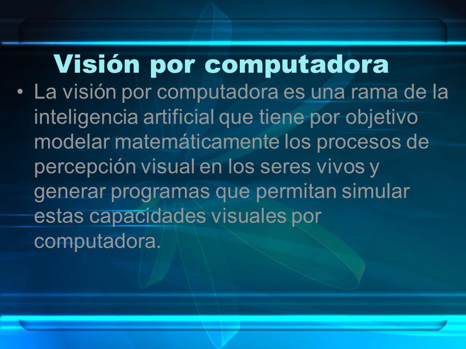 La visión por computadora es una rama de la inteligencia artificial que tiene por objetivo modelar matemáticamente los procesos de percepción visual e