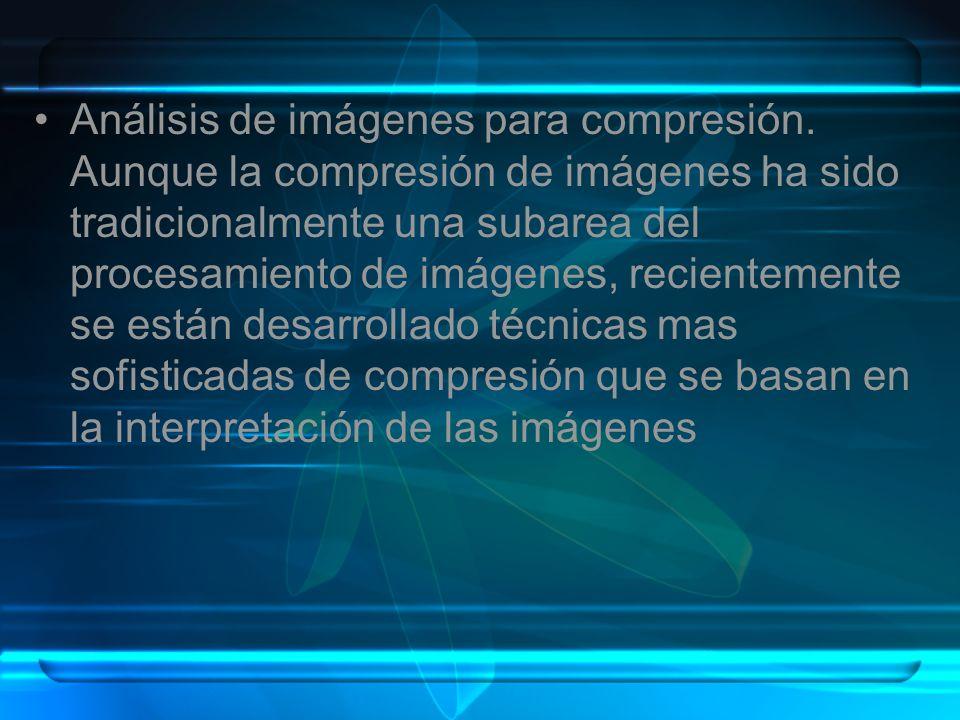 Análisis de imágenes para compresión. Aunque la compresión de imágenes ha sido tradicionalmente una subarea del procesamiento de imágenes, recientemen