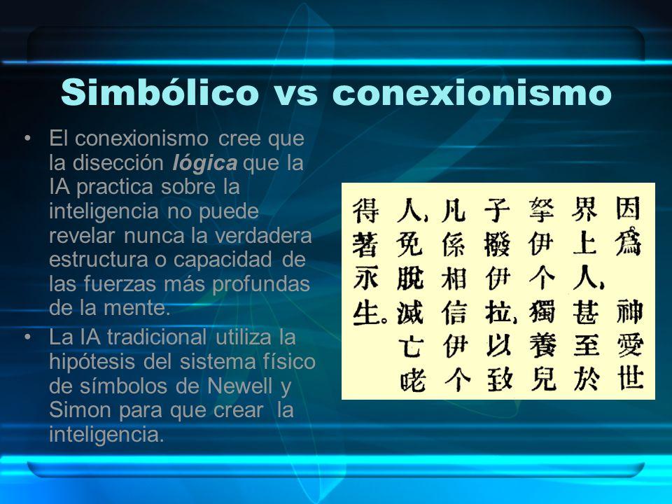 Simbólico vs conexionismo(cont.) La IA tradicional apuesta por la creencia que como los seres humanos son inteligentes, ello son sistemas físicos de símbolos.