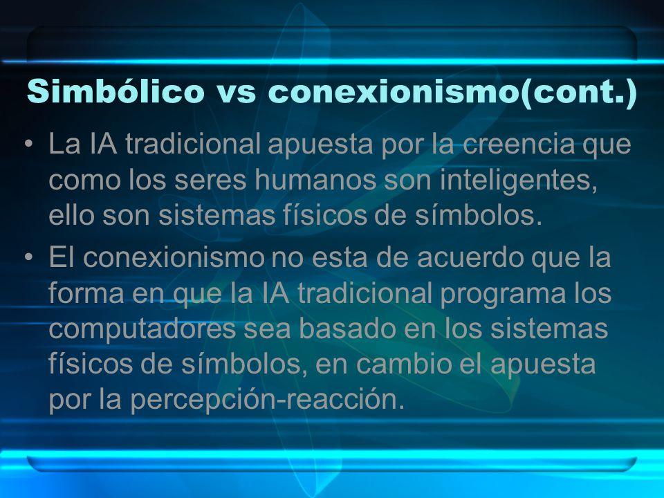 Simbólico vs Conexionismo(cont) Conexionistas: rasgos característicos de la Inteligencia Humana son el pensamiento asociativo, la capacidad de aprender y generalizar a partir de ejemplos, entre otros.