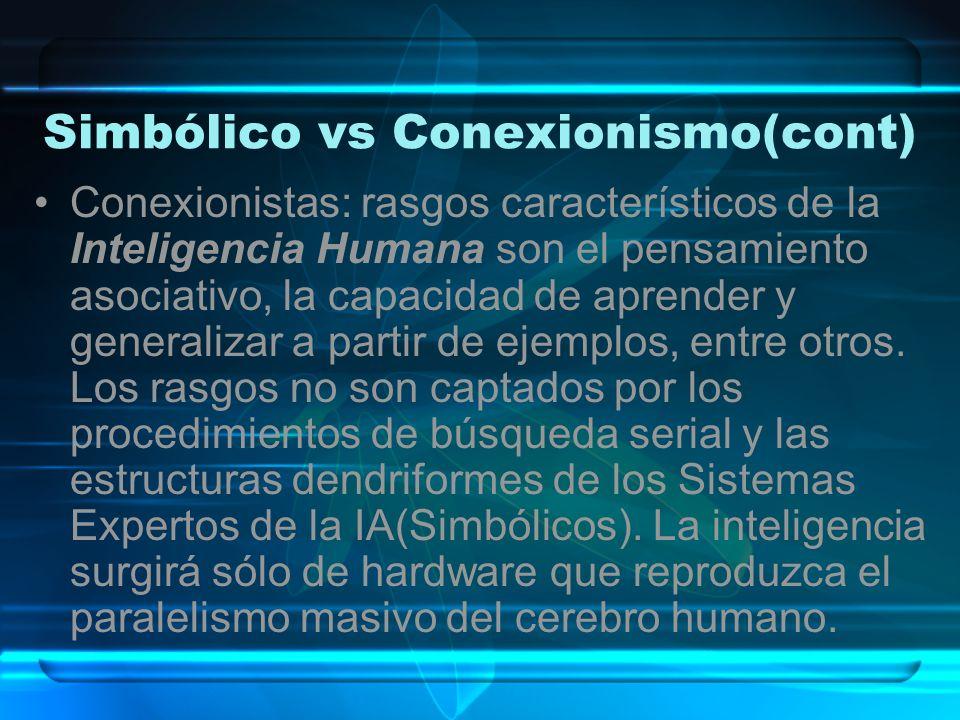 Simbólico vs Conexionismo(cont) Conexionistas: rasgos característicos de la Inteligencia Humana son el pensamiento asociativo, la capacidad de aprende
