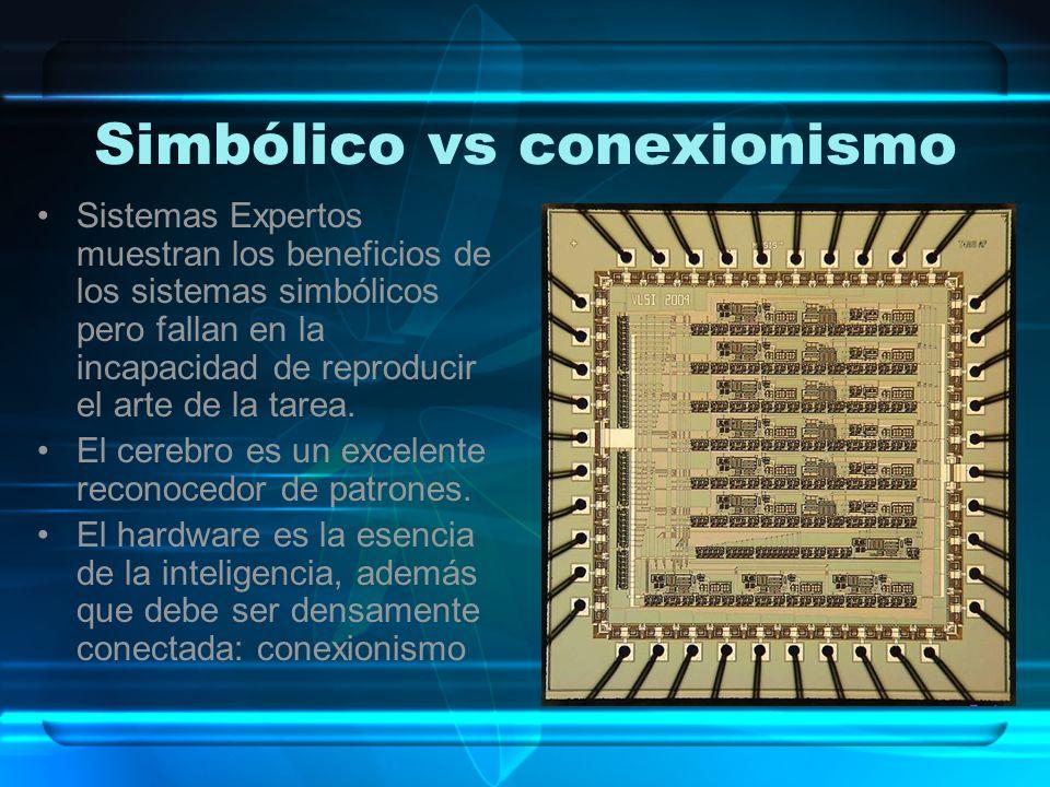 Simbólico vs conexionismo Sistemas Expertos muestran los beneficios de los sistemas simbólicos pero fallan en la incapacidad de reproducir el arte de