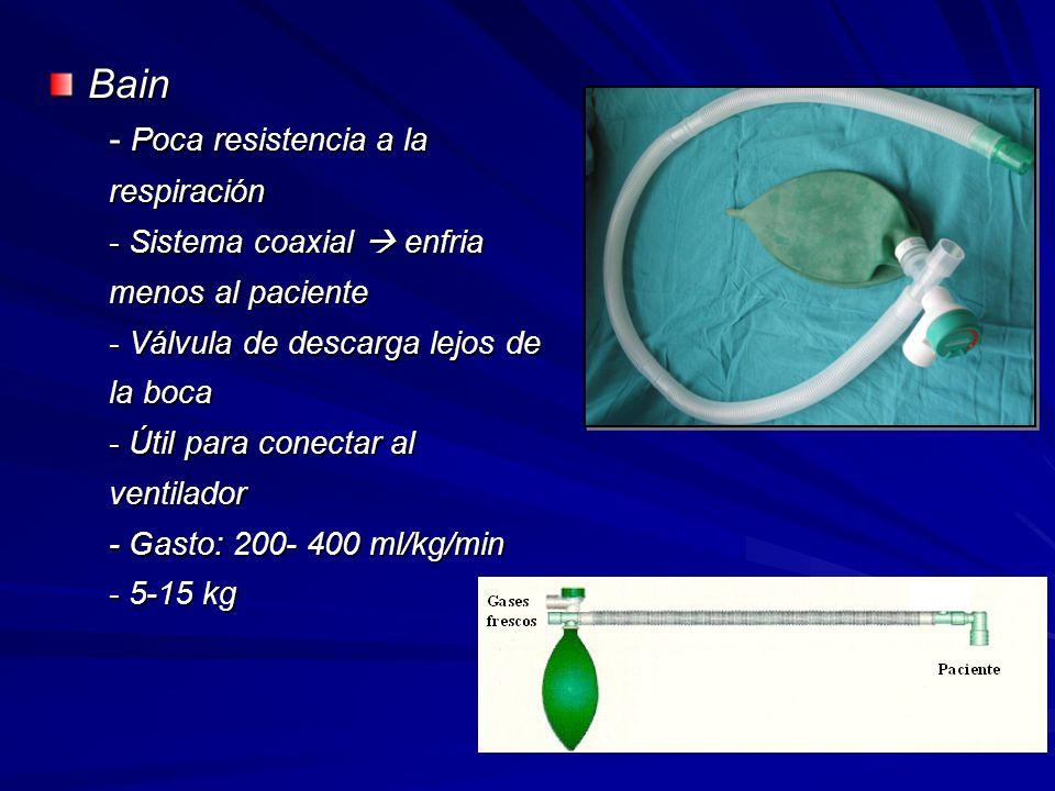Bain - Poca resistencia a la respiración - Sistema coaxial enfria menos al paciente - Válvula de descarga lejos de la boca - Útil para conectar al ventilador - Gasto: 200- 400 ml/kg/min - 5-15 kg