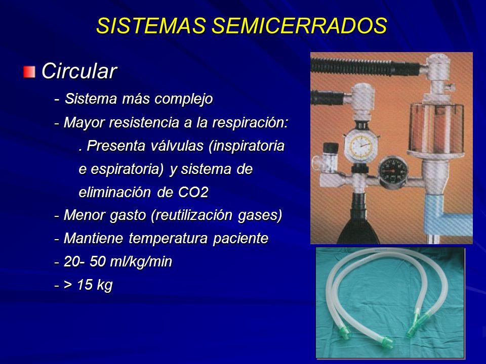 SISTEMAS SEMICERRADOS Circular - Sistema más complejo - Mayor resistencia a la respiración:.
