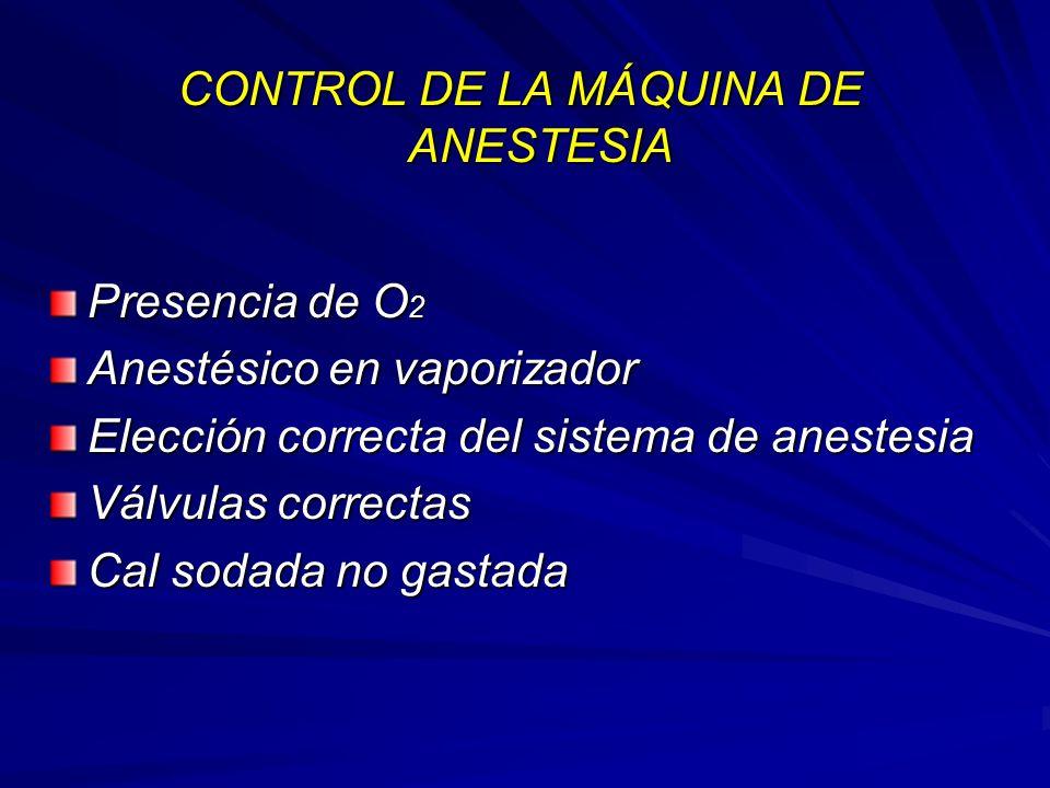 CONTROL DE LA MÁQUINA DE ANESTESIA Presencia de O 2 Anestésico en vaporizador Elección correcta del sistema de anestesia Válvulas correctas Cal sodada no gastada