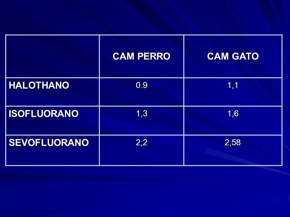 CAM PERRO CAM GATO HALOTHANO0.91,1 ISOFLUORANO1,31,6 SEVOFLUORANO2,22,58
