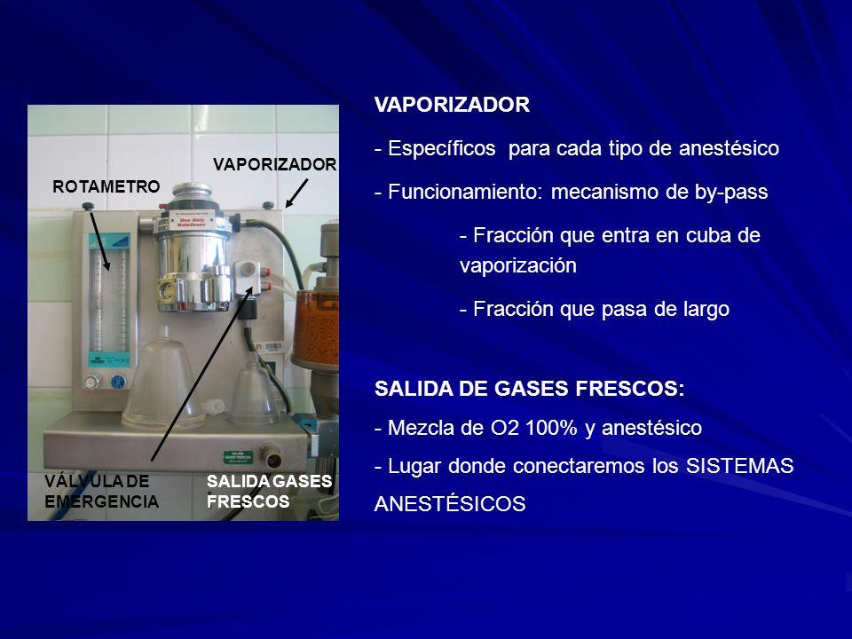 ROTAMETRO VAPORIZADOR VÁLVULA DE EMERGENCIA SALIDA GASES FRESCOS VAPORIZADOR - Específicos para cada tipo de anestésico - Funcionamiento: mecanismo de by-pass - Fracción que entra en cuba de vaporización - Fracción que pasa de largo SALIDA DE GASES FRESCOS: - Mezcla de O2 100% y anestésico - Lugar donde conectaremos los SISTEMAS ANESTÉSICOS