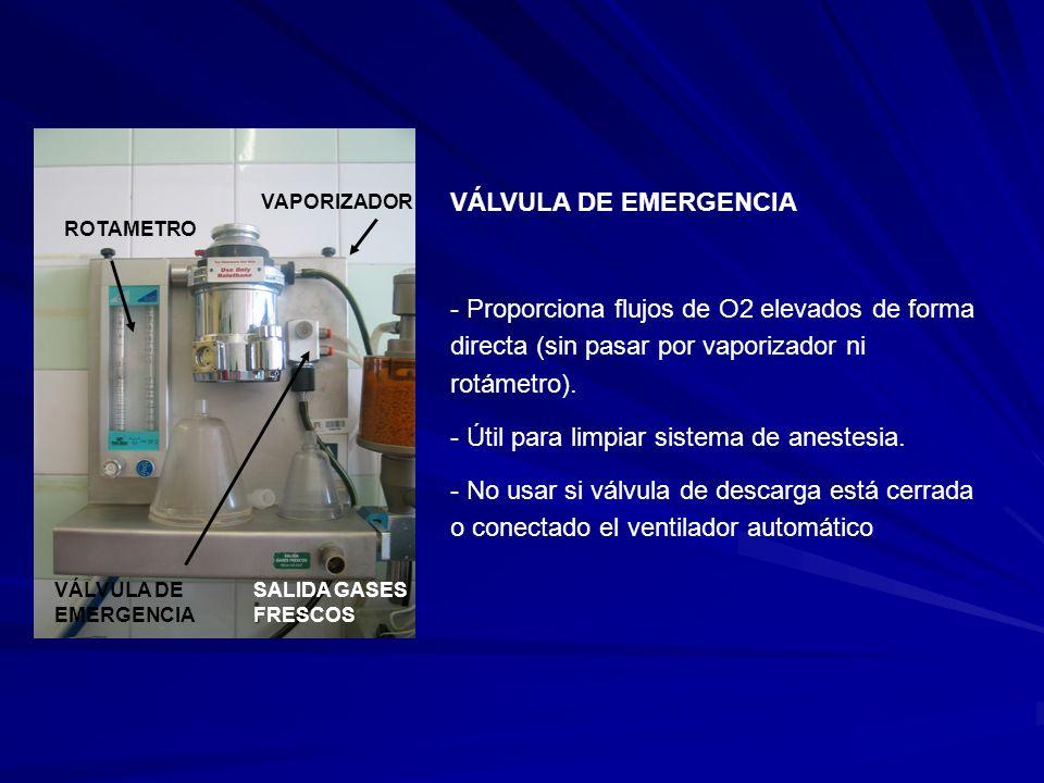 ROTAMETRO VAPORIZADOR VÁLVULA DE EMERGENCIA SALIDA GASES FRESCOS VÁLVULA DE EMERGENCIA - Proporciona flujos de O2 elevados de forma directa (sin pasar por vaporizador ni rotámetro).