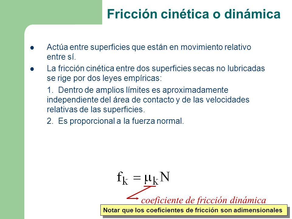 Ago-Dic 2006 Fricción cinética o dinámica Actúa entre superficies que están en movimiento relativo entre sí.