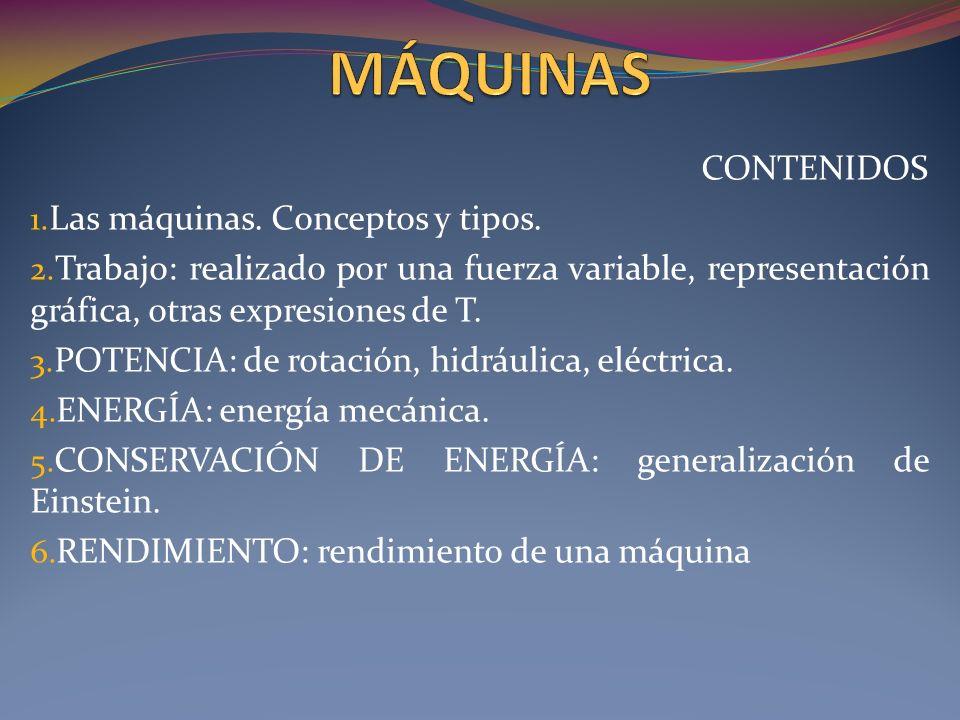 CONTENIDOS 1.Las máquinas. Conceptos y tipos. 2.