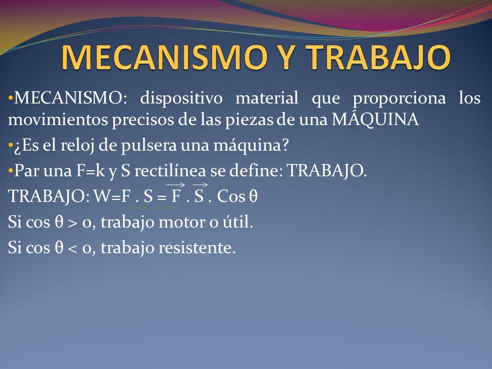 TRABAJO: FUERZA Y TRAYECTORA VARIABLE: UNIDADES DE TRABAJO: JULIO (SISTEMA INTERNACIONAL) KILOGRÁMETRO O KILOPONDÍMETRO.(TÉCNICO) KILOVARIO HORA: 3,6.