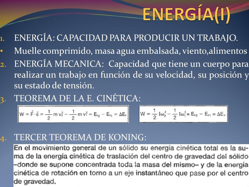 1.ENERGÍA: CAPACIDAD PARA PRODUCIR UN TRABAJO.