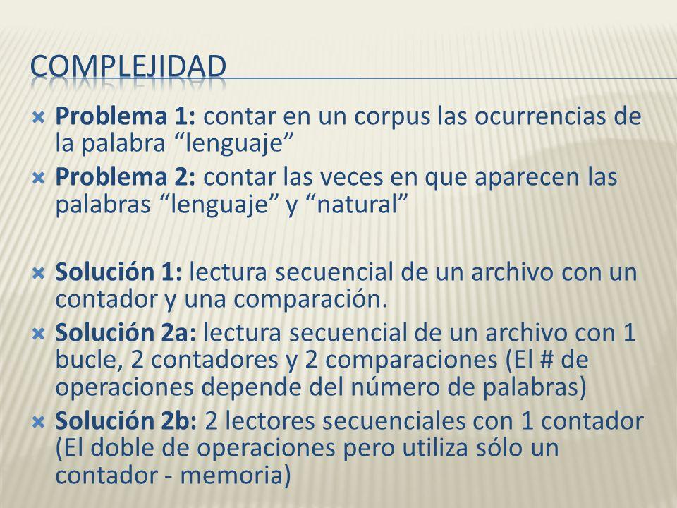 Problema 1: contar en un corpus las ocurrencias de la palabra lenguaje Problema 2: contar las veces en que aparecen las palabras lenguaje y natural So