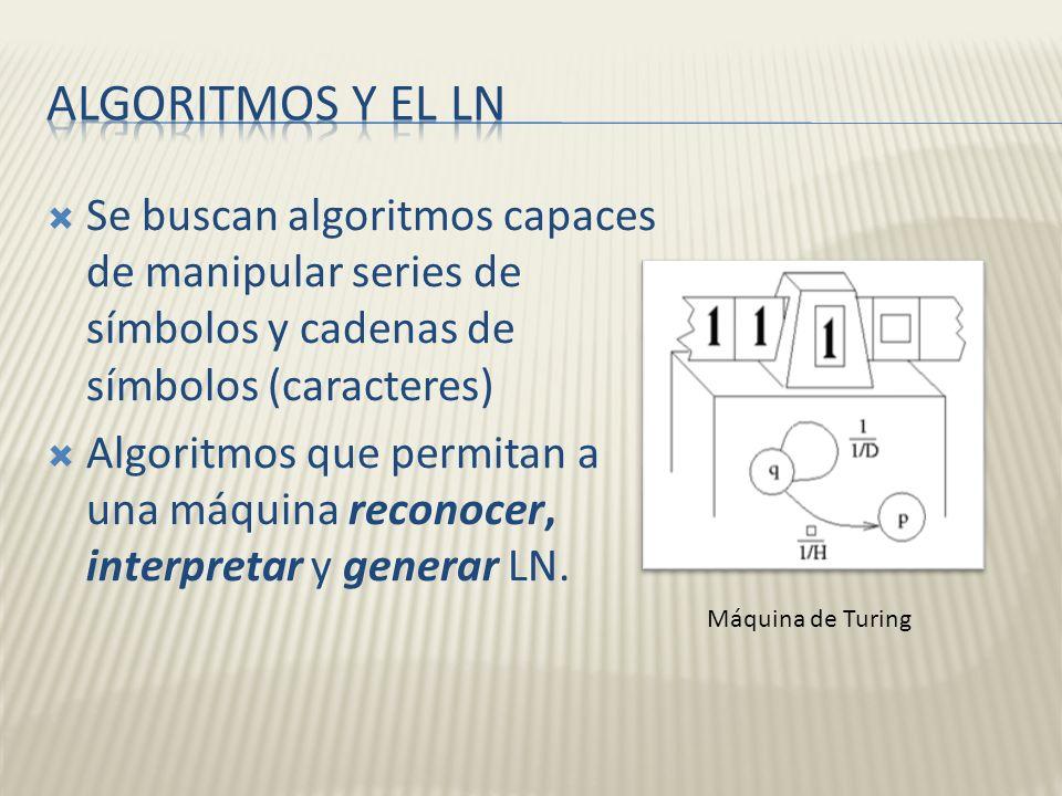 Se buscan algoritmos capaces de manipular series de símbolos y cadenas de símbolos (caracteres) Algoritmos que permitan a una máquina reconocer, inter