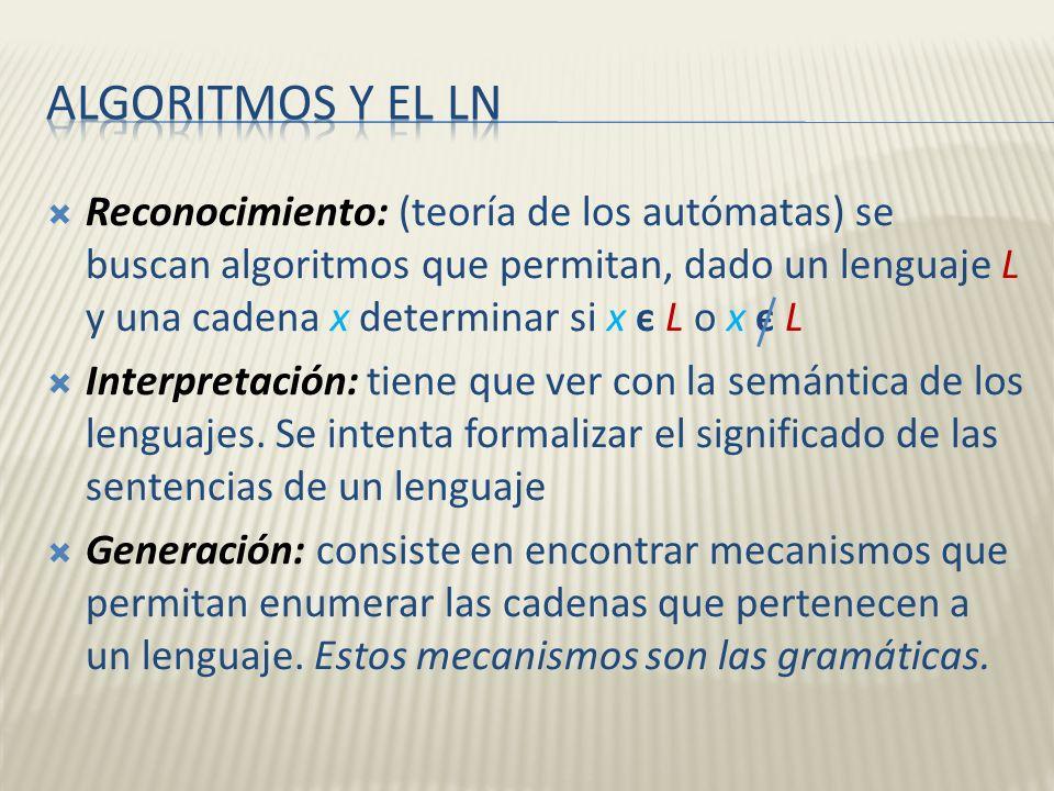 Reconocimiento: (teoría de los autómatas) se buscan algoritmos que permitan, dado un lenguaje L y una cadena x determinar si x є L o x є L Interpretac