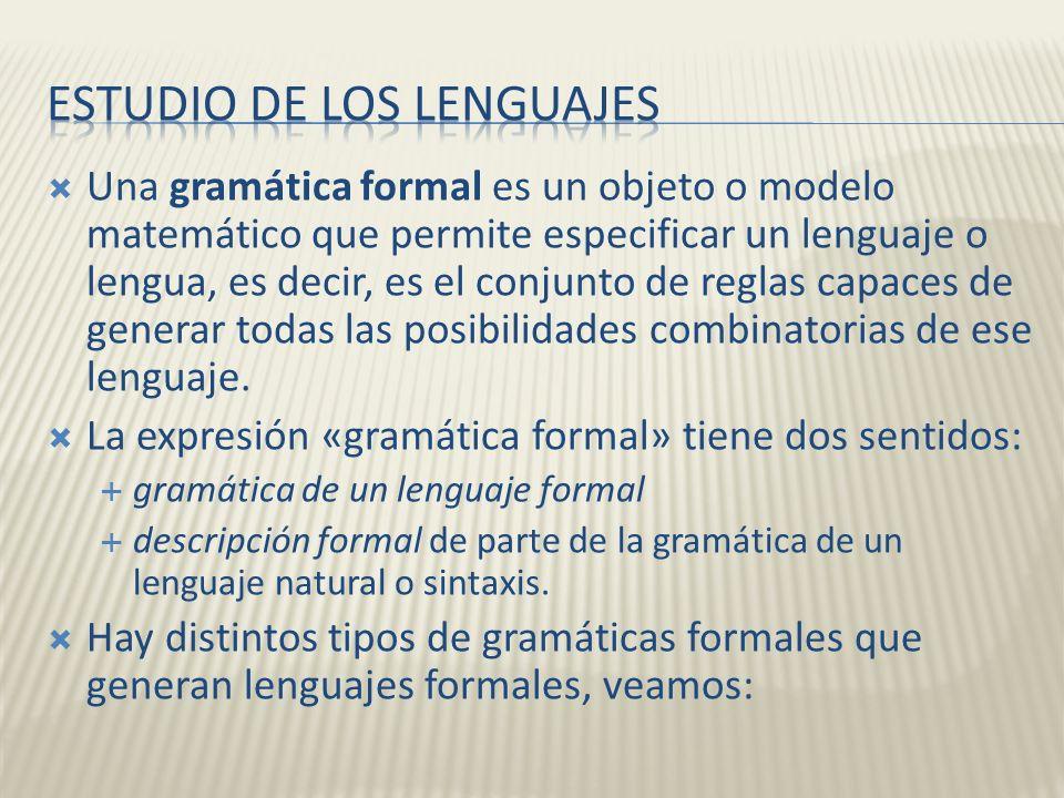 Una gramática formal es un objeto o modelo matemático que permite especificar un lenguaje o lengua, es decir, es el conjunto de reglas capaces de gene