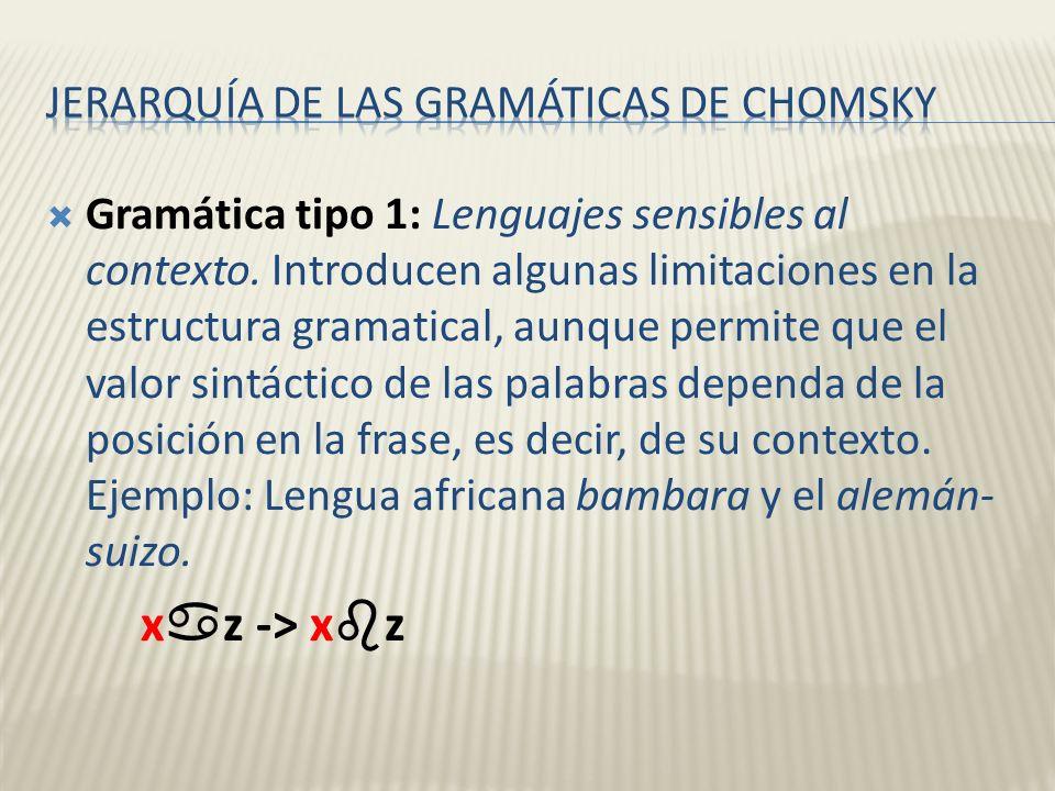 Gramática tipo 1: Lenguajes sensibles al contexto. Introducen algunas limitaciones en la estructura gramatical, aunque permite que el valor sintáctico