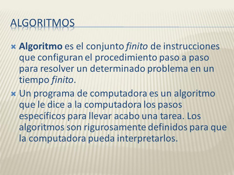 Algoritmo es el conjunto finito de instrucciones que configuran el procedimiento paso a paso para resolver un determinado problema en un tiempo finito
