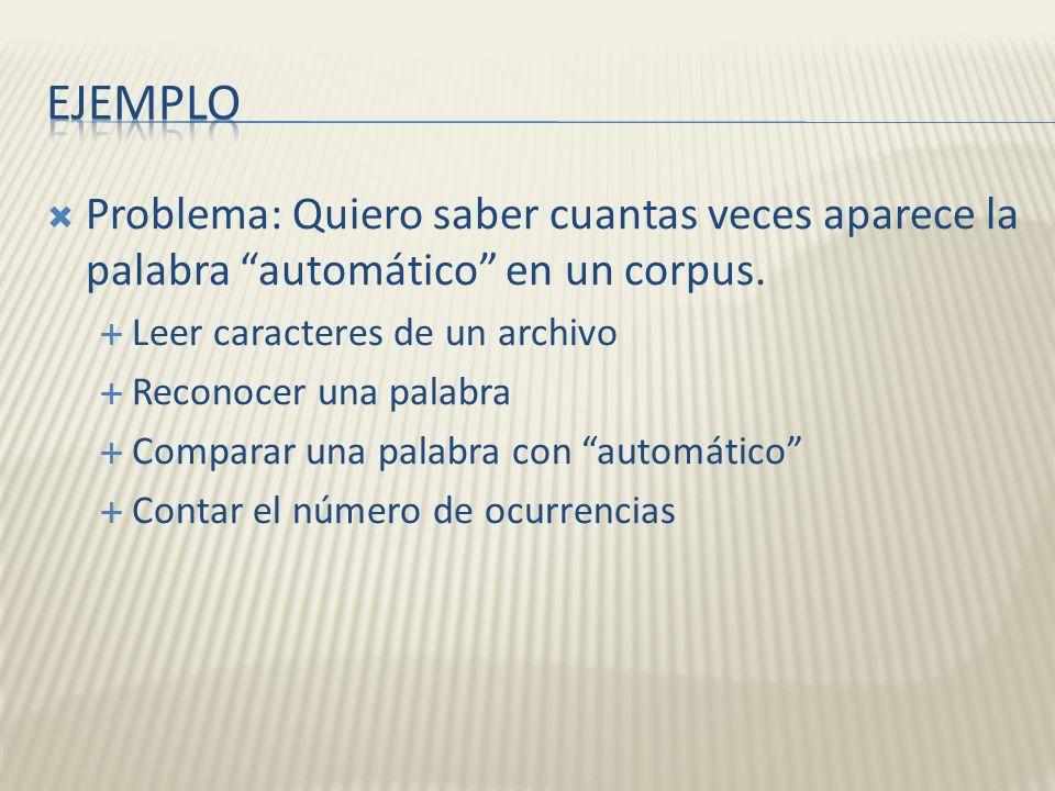 Problema: Quiero saber cuantas veces aparece la palabra automático en un corpus. Leer caracteres de un archivo Reconocer una palabra Comparar una pala