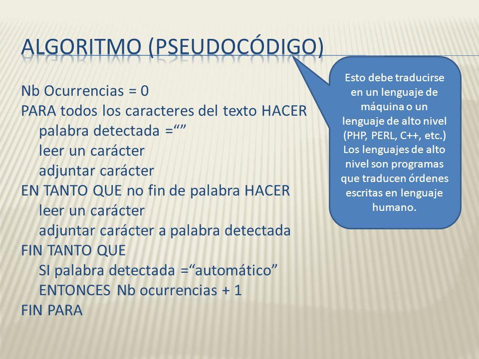 Nb Ocurrencias = 0 PARA todos los caracteres del texto HACER palabra detectada = leer un carácter adjuntar carácter EN TANTO QUE no fin de palabra HAC