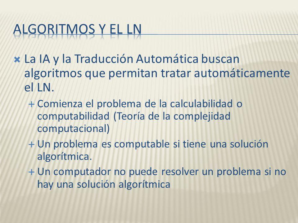 La IA y la Traducción Automática buscan algoritmos que permitan tratar automáticamente el LN. Comienza el problema de la calculabilidad o computabilid
