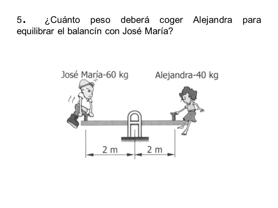 5. ¿Cuánto peso deberá coger Alejandra para equilibrar el balancín con José María?