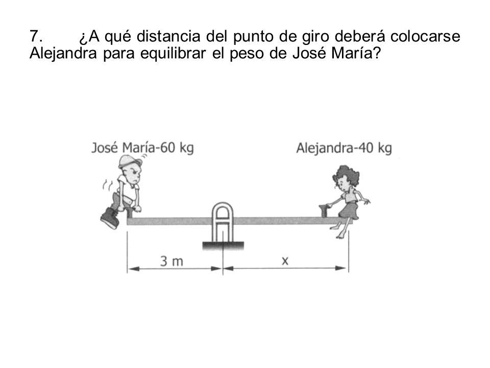 7.¿A qué distancia del punto de giro deberá colocarse Alejandra para equilibrar el peso de José María?