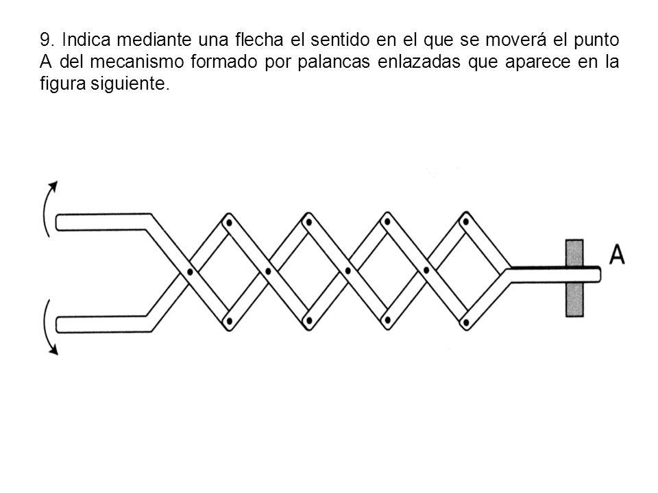 9. Indica mediante una flecha el sentido en el que se moverá el punto A del mecanismo formado por palancas enlazadas que aparece en la figura siguient