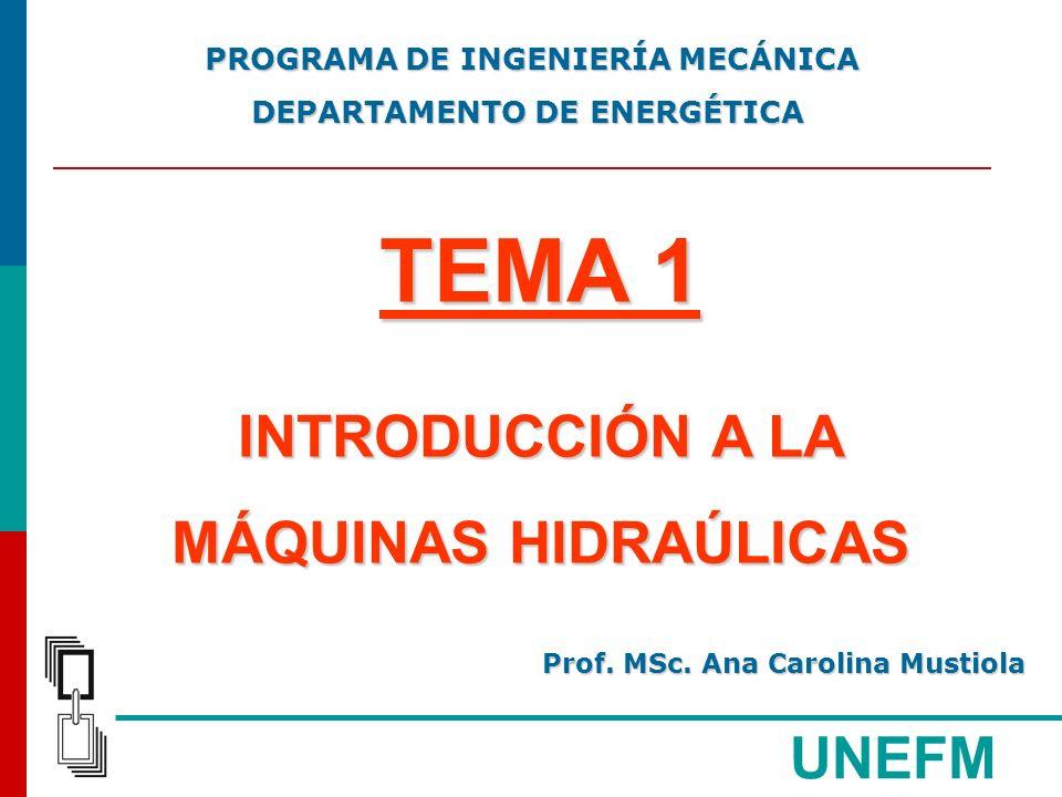 UNEFM ECUACIÓN DE EULER CONSIDERACIONES: EL FLUJO ES PLANO, NO HAY GRADIENTE DE VELOCIDAD A LO LARGO DEL EJE PARALELO AL EJE GEOMÉTRICO DE LA MÁQUINA MÁQUINAS HIDRÁULICAS MÁQUINAS HIDRÁULICAS Prof.