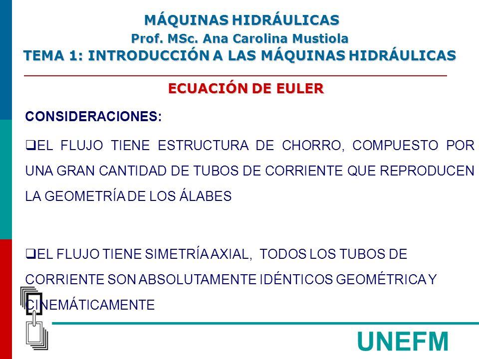 UNEFM ECUACIÓN DE EULER CONSIDERACIONES: EL FLUJO TIENE ESTRUCTURA DE CHORRO, COMPUESTO POR UNA GRAN CANTIDAD DE TUBOS DE CORRIENTE QUE REPRODUCEN LA GEOMETRÍA DE LOS ÁLABES EL FLUJO TIENE SIMETRÍA AXIAL, TODOS LOS TUBOS DE CORRIENTE SON ABSOLUTAMENTE IDÉNTICOS GEOMÉTRICA Y CINEMÁTICAMENTE MÁQUINAS HIDRÁULICAS MÁQUINAS HIDRÁULICAS Prof.