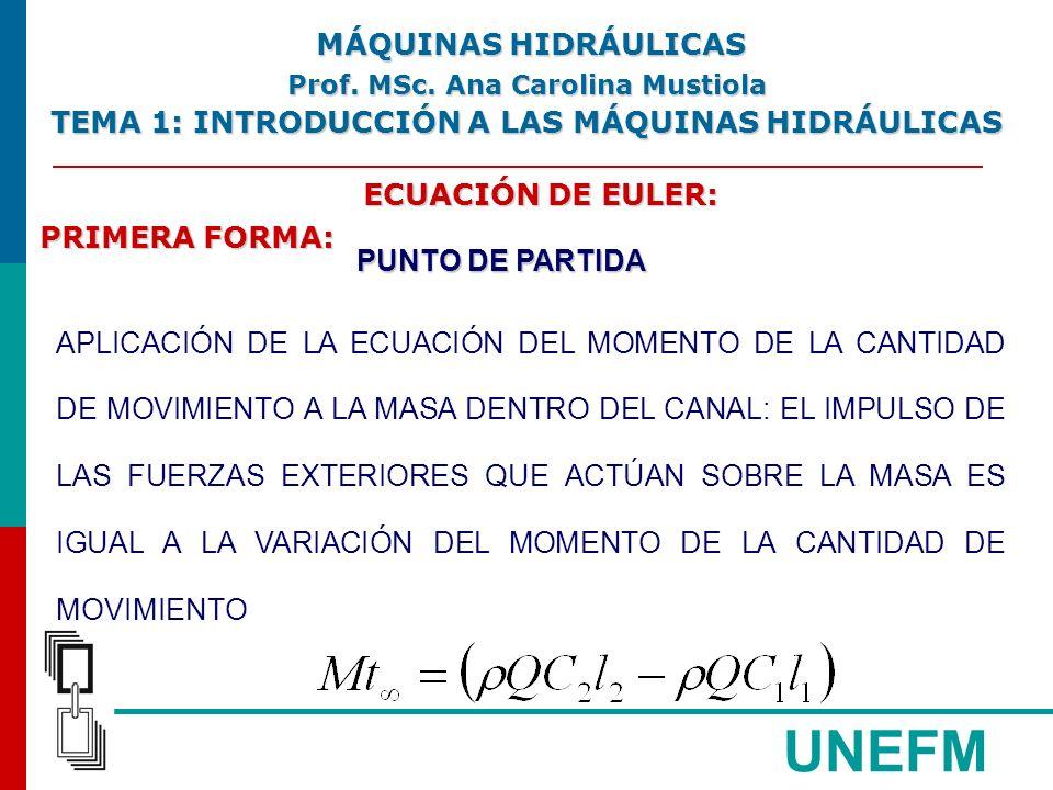 UNEFM ECUACIÓN DE EULER: PRIMERA FORMA: PUNTO DE PARTIDA APLICACIÓN DE LA ECUACIÓN DEL MOMENTO DE LA CANTIDAD DE MOVIMIENTO A LA MASA DENTRO DEL CANAL: EL IMPULSO DE LAS FUERZAS EXTERIORES QUE ACTÚAN SOBRE LA MASA ES IGUAL A LA VARIACIÓN DEL MOMENTO DE LA CANTIDAD DE MOVIMIENTO MÁQUINAS HIDRÁULICAS MÁQUINAS HIDRÁULICAS Prof.